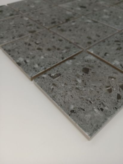 Light Grey Concrete Terrazzo Floors Square Mosaic Tiles