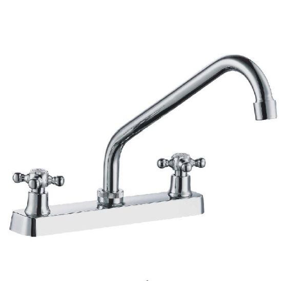 8 Two Cross Handle High Swivel Spout Kitchen Faucet China Kitchen Faucet Double Handle Faucet Made In China Com