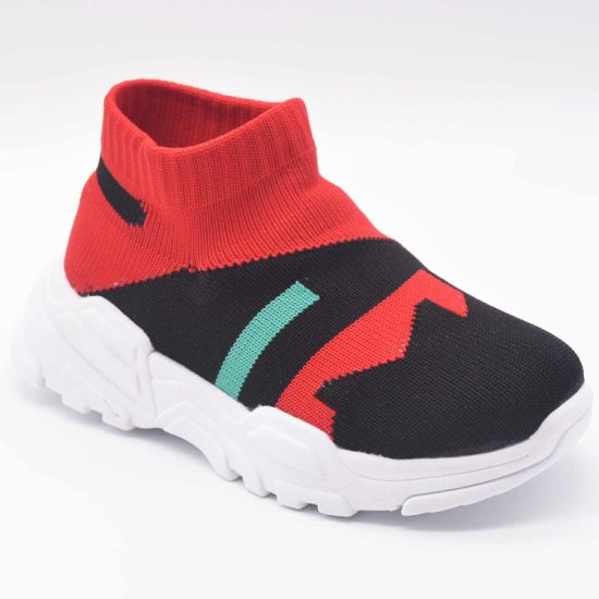 2019 Knitted Cotton Comfortable Elastic Contrast Color High-Top Casual Shoes