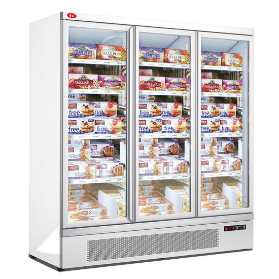 Energy Efficient 3 Glass Door Freezer Upright Freezer