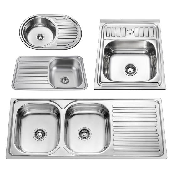 Stainless Steel 201 304 Bowls Kitchen Sink Polish Surface Finish with Drain Board Russia South America