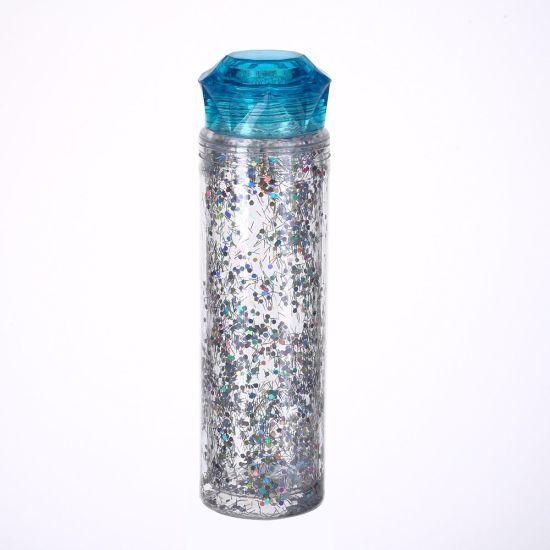 20oz BPA Free Custom Logo PETG Double Layer Outdoor Sport Glitter Travel Water Plastic Drink Water Bottle with Diamond Lid