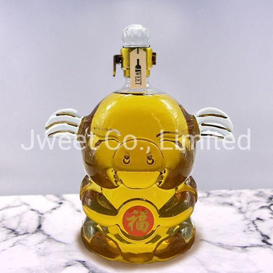 Special Glass Pig Shape Bottle Wine Liquor Bottle with Lid