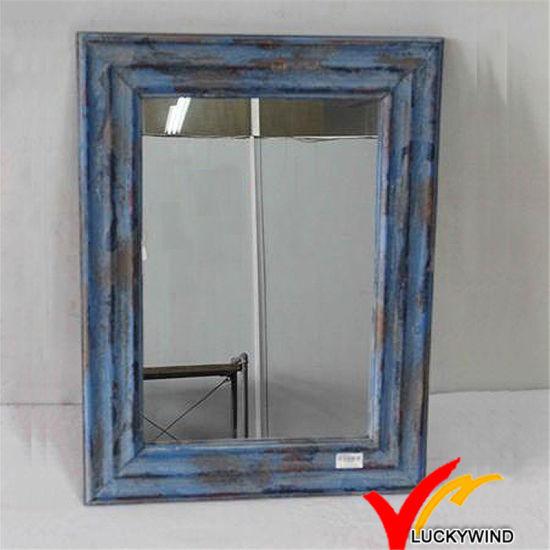 China Shabby Chic Blue Small Decorative Framed Wooden Wall Mirrors China Wall Mirrors Decorative Mirror