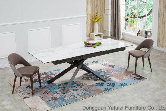 Extension Modern White Ceramic Metal Dining Table Furniture