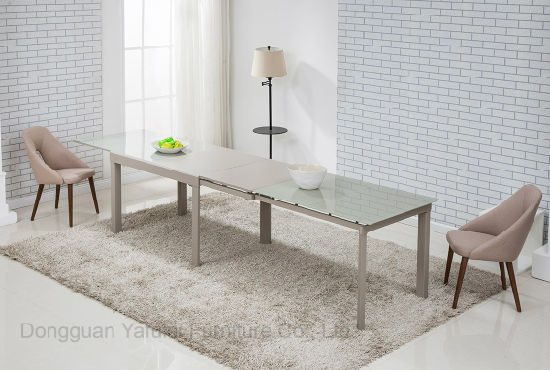 Modern Factory Extension Dining Table Set Grey Glass Metal MDF Furniture
