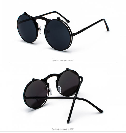 8d5ac6e109eda 2018 Hot Style Retro Metal Punk Steam Hipster Clamshell Flip up Sunglasses