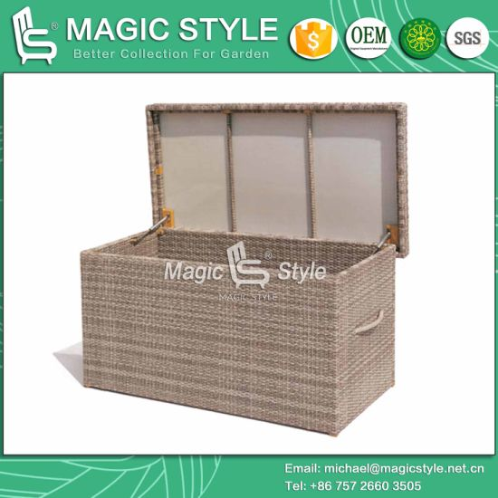 Cushion Box Garden Storage Rattan Chest Kd Cushion Box Wicker Storage Outdoor  Furniture Patio Furniture Wicker Chest (Magic Style)