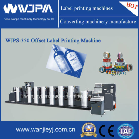 Wjps-350 Multi Color Intermittent Rotary Cardboard Offset Label Printing Machine