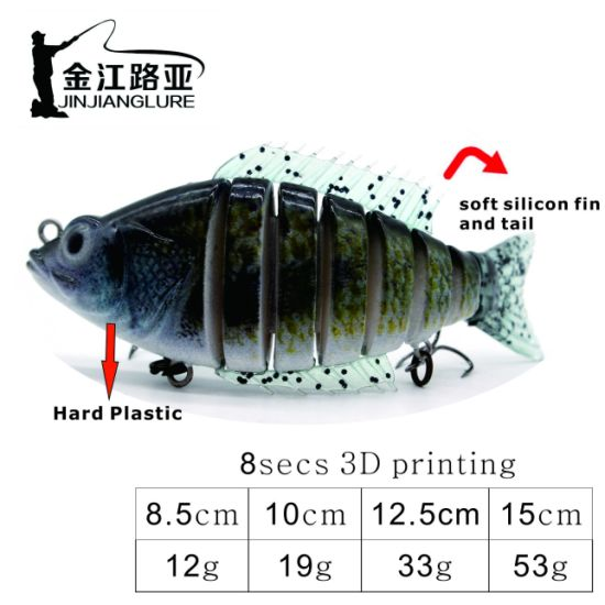 Js-15 Artificial Bait Plastic Hard Bass Fishing Lure Fishing Bait Jointed Lure