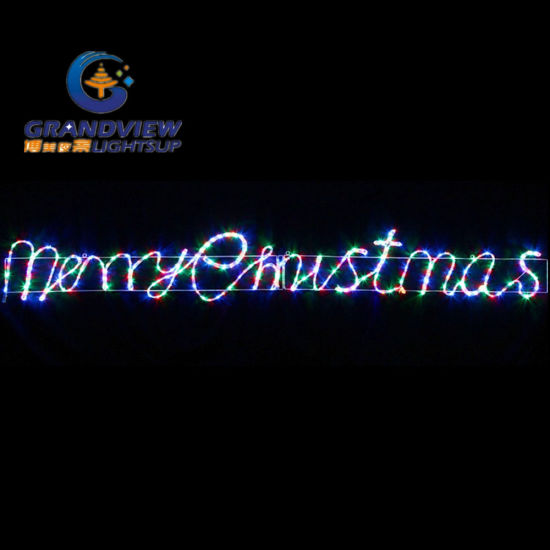 animated 290cm wide led multi colours merry christmas motif rope lights