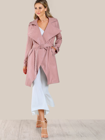 Customized Wholesale New Fashion Belted Waist and Cuff Faux Leather Coats