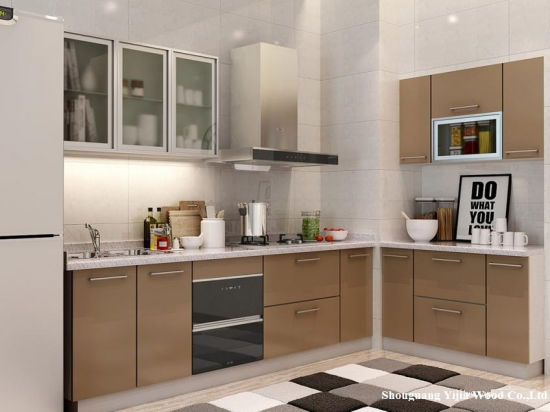 China Oppein Modern Light Wood Grain L Shaped Kitchen