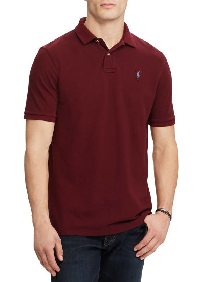 Wine Red Mens Classic Mesh Short Sleeve Cotton Polo Shirts