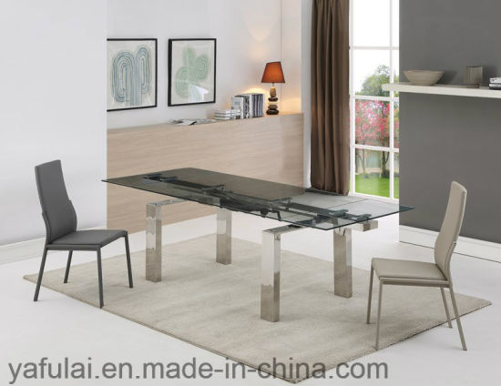 China Modern Dining Room Furniture Glass Top Stainless Steel Leg