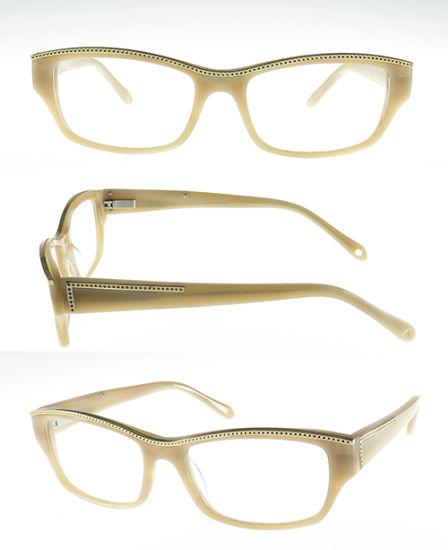 High Quality Acetate Optical Frame with Metal Decoration for Woman