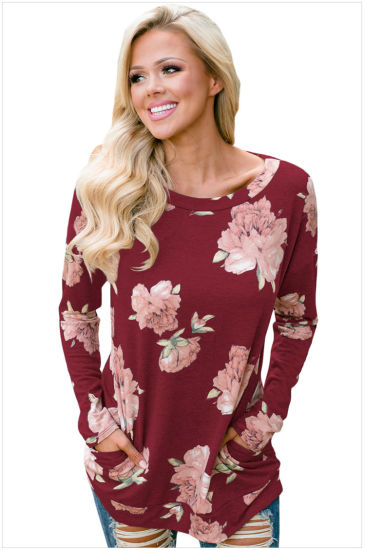 Custom Long Sleeve Women's T-Shirt with Printing Flower