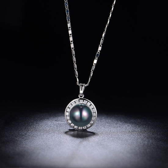 Ladies Jewelry Changeable Color Zirconia Black Pearl Necklace pictures & photos
