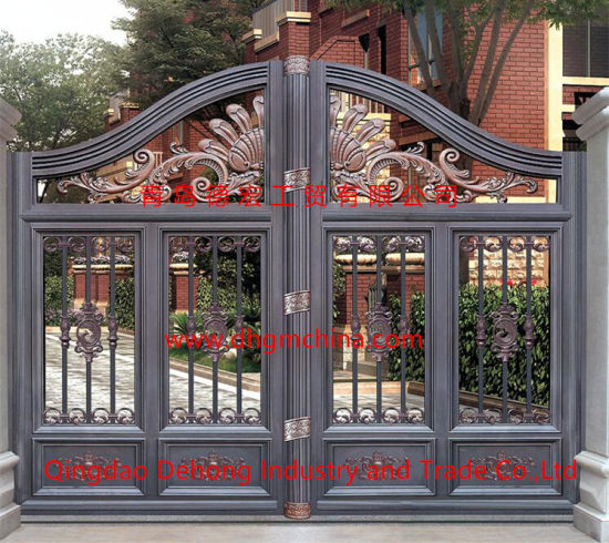 Customized Outdoor Wrought Iron Gate with Small Side Gate