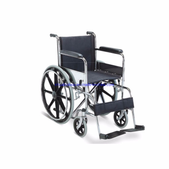 Hospital Adults Steel Foldable Electric Wheelchair with PU Wheels pictures & photos