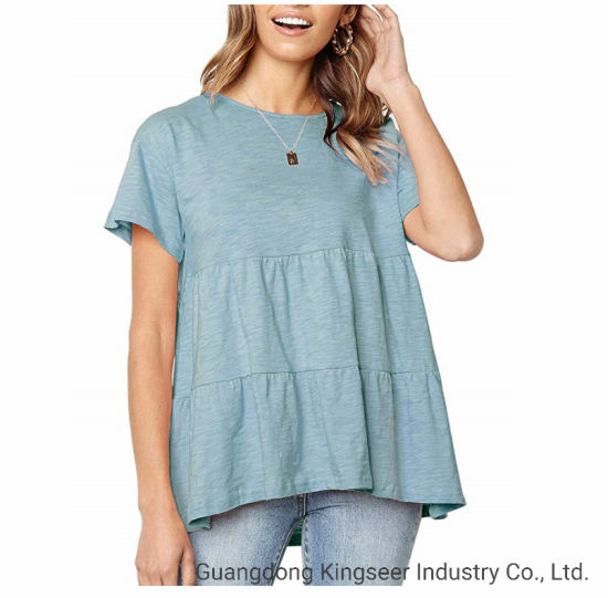 Fashion Casual Wear Girl's Round Neck Loose Summer Women's T-Shirt Blouse Clothes