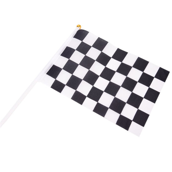 Black /& White Check Checkered Small Hand Waving Flag