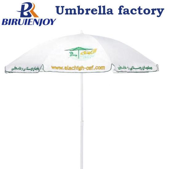 Custom Promotional White Polyester Beach Sun Umbrella with Logo