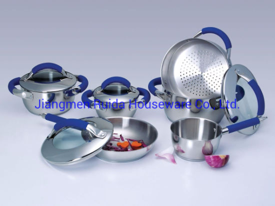 New Design Color Silicone Handle 10PCS Stainless Steel Cookware Set