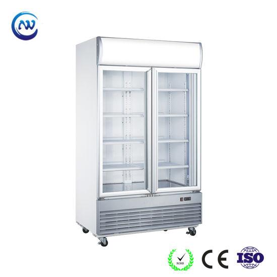 China Double Glass Doors Beer Cooler Beverage Cooling Fridge Ld