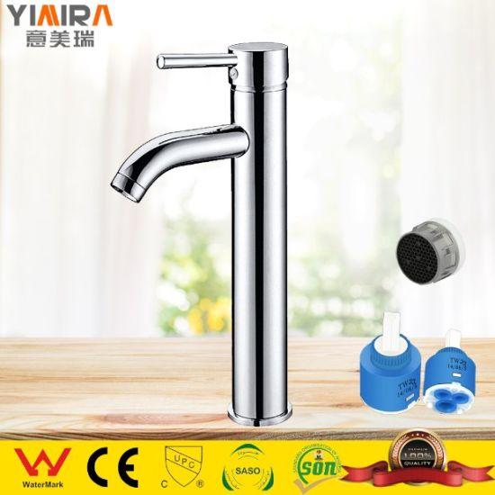 High Quality Tall Faucet Brass Chrome Bathroom Basin Mixer Tap