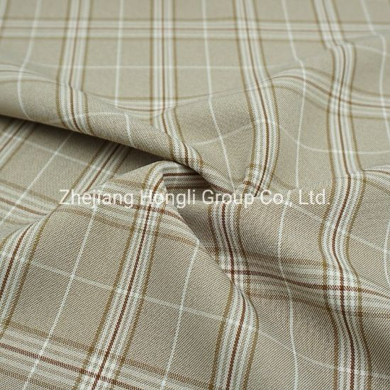 94%Polyester 6%Spandex Cationic Check Plaid Poly Span Fabric #20003