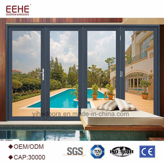 China Aluminum Frame Patio Folding Doors Glass Patio Doors With
