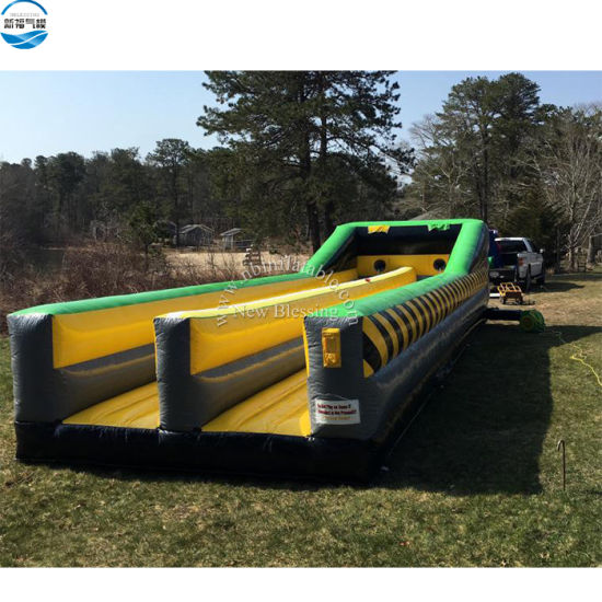 Crazy Fun Toxic Game Inflatable Bungee Run, Inflatable Bungee Bouncer Sport Game for Sale