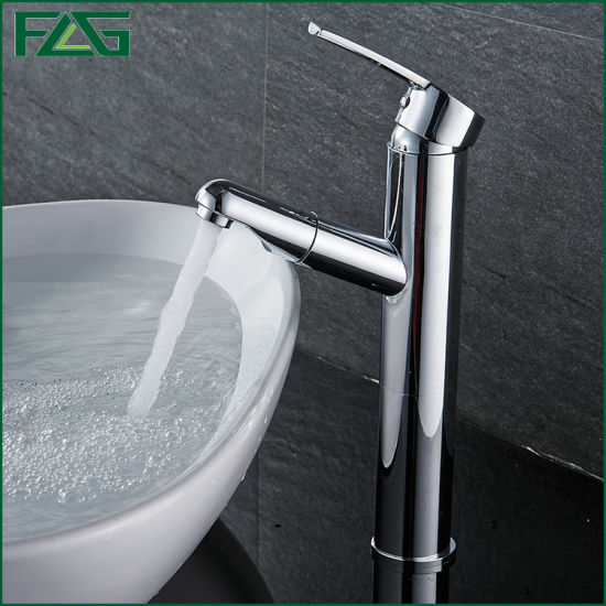 Flg Single Handle Brass Chrome Pull out Basin Faucet