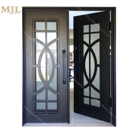 China Double Iron Swing Doors Decorative Iron Entry Door Cheap