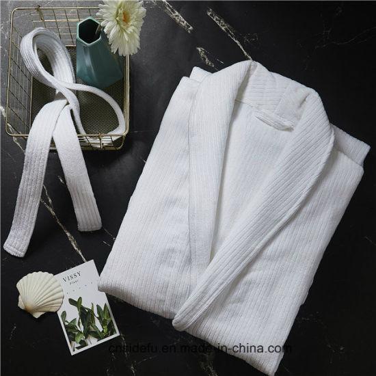 a0813f70b5 China 100 Cotton Men Women Custom Hotel Stripe Velour Bathrobe ...