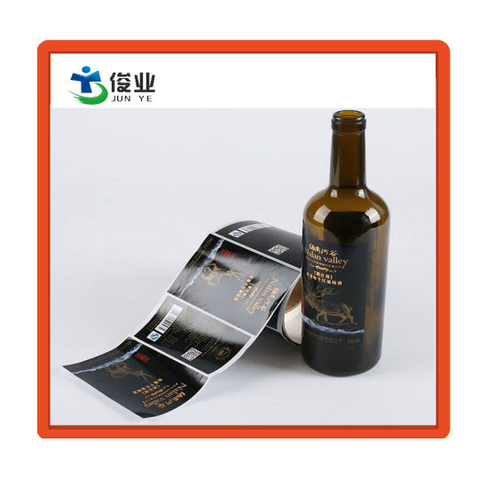 Custom Glossy Sticker with Gold Hot Stamping for Bottle Packaging