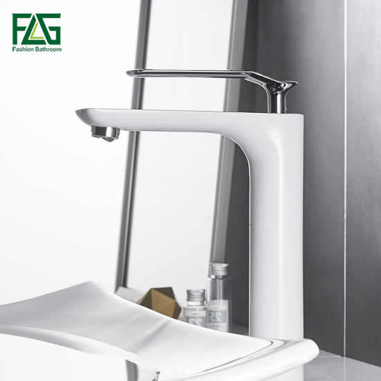 Flg OEM Manufacturer Brass White Painting Tall Basin Faucet