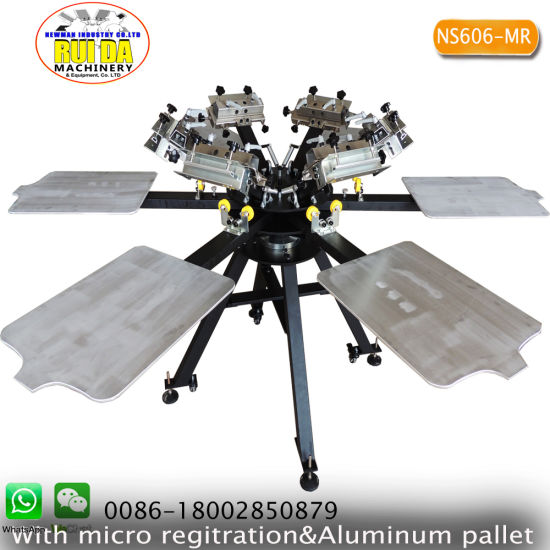 DIY Aluminum Economic 6 Color 6 Station Screen Printing Machine with Micro Registration with Some Materials pictures & photos