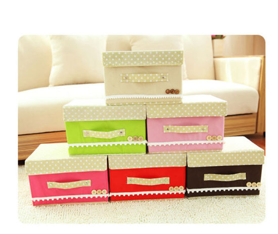 Non-Woven Cardboard Collapsible Decoration Storage Box with Lid pictures & photos