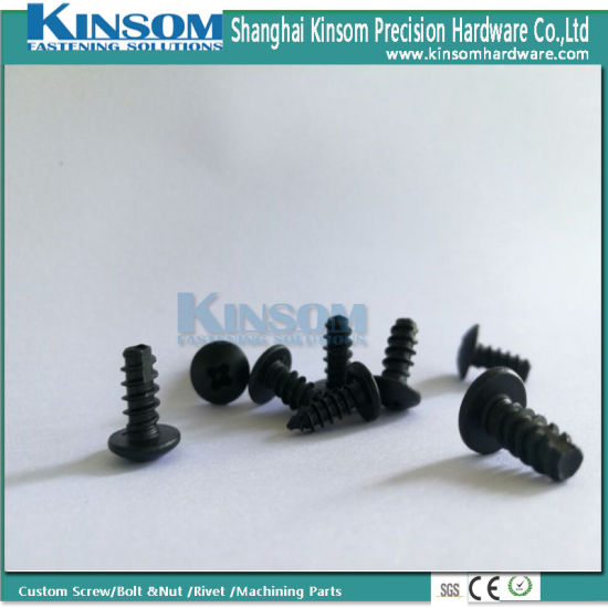 Pan Philllips Head Sandblasting Black Coating Stainless Steel Self Tapping Screw pictures & photos