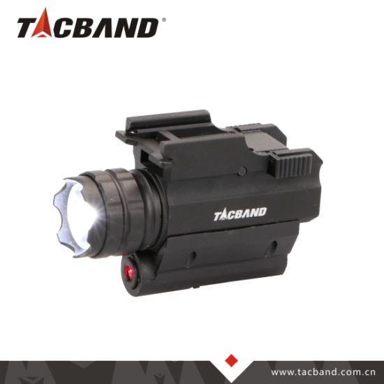 Tactical LED Flashlight with Red Laser Sight Pointer for Weapon