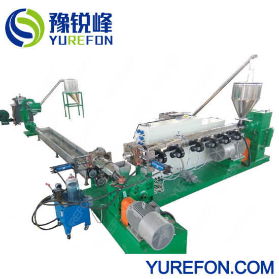 Plastic HDPE Drum Scraps Milk Bottle Flakes Extrusion Pelletizing Production Line for Making Granule Pellet pictures & photos