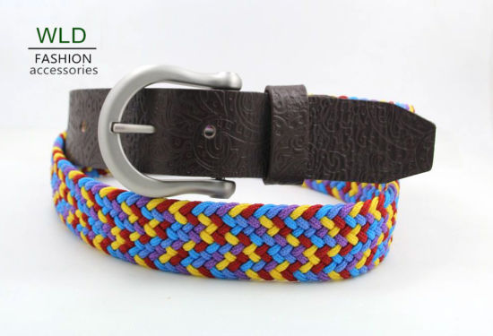 Fashion Basic Webbing Woven Genuine Top Leather Belt Lky1141 pictures & photos