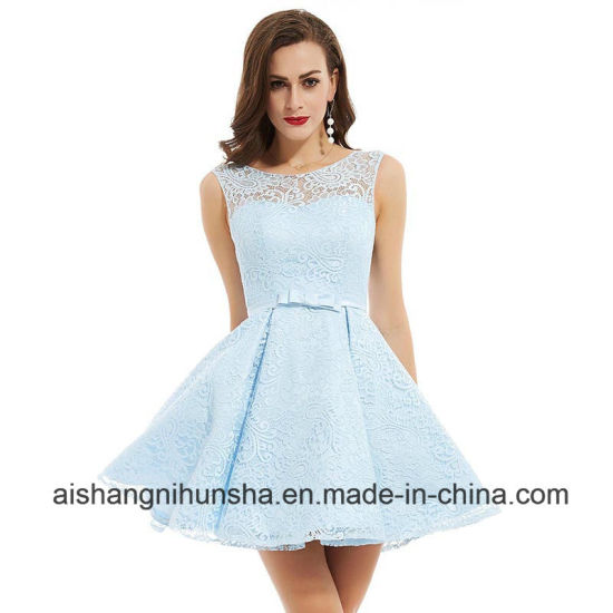 China Homecoming Dresses Scoop Sleeveless A-Line Ruched Lace Prom ...