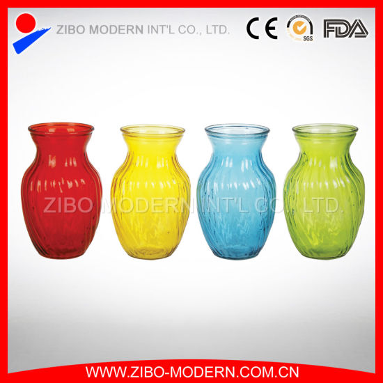 China Colored Glass Vases Semi Color Sprayed Cheap Colored Glass
