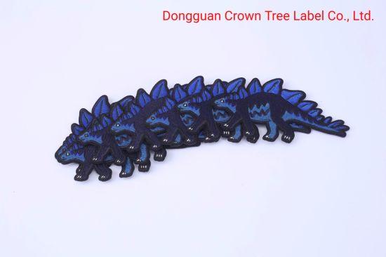 High Quality Dinosaur Shape Embroidery Woven Badge