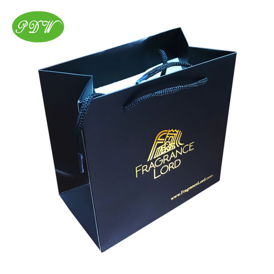 High Quality Black Paper Shopping Bag with Gold Logo