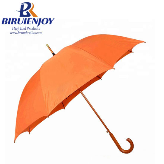 190t Pongee Fabric Wood Walking Straight Umbrella with Auto Open