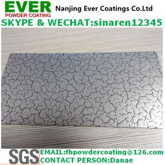 Electrostatic Spray Crack Skin Effect Finish Silver Color Powder Coating pictures & photos